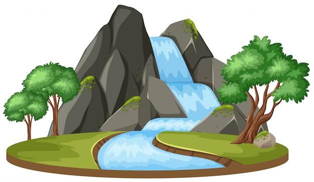 Uma cachoeira isolada no fundo branco Vetor Premium