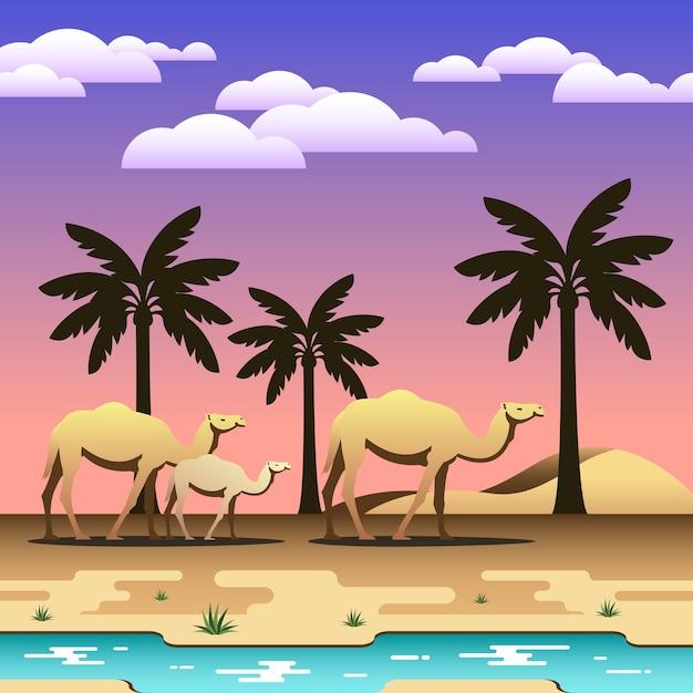Uma caravana de camelos Vetor Premium