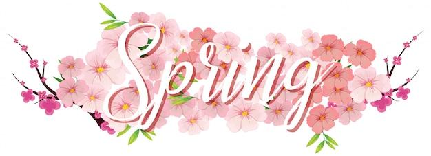 Uma carta de texto da primavera Vetor grátis