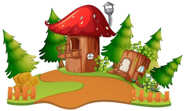 Uma casa de cogumelo de fantasia Vetor grátis