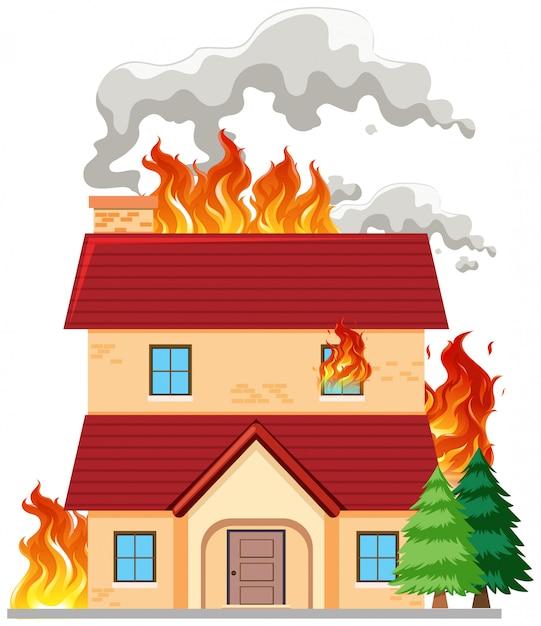Uma casa moderna em chamas Vetor Premium