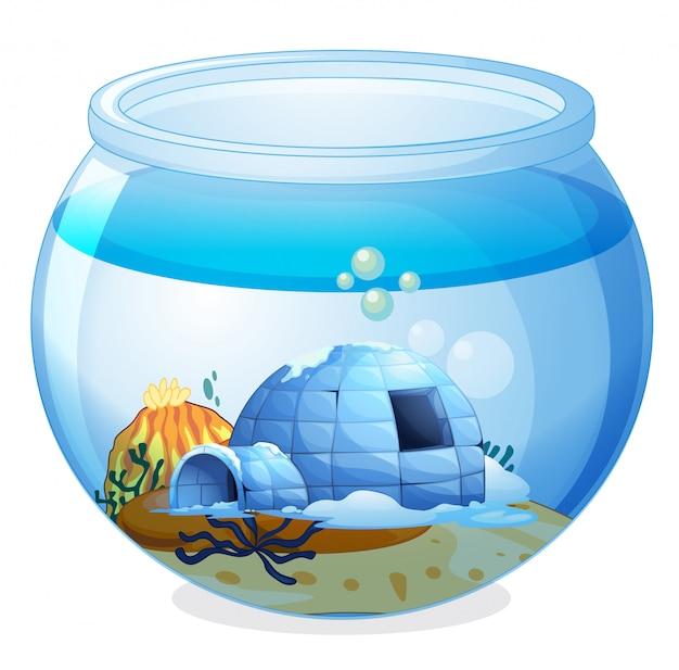 Uma caverna dentro do aquário Vetor grátis