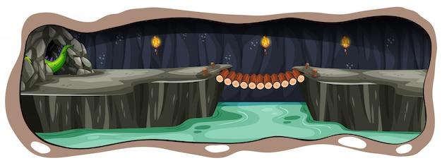 Uma caverna do dragão escuro assustador Vetor Premium