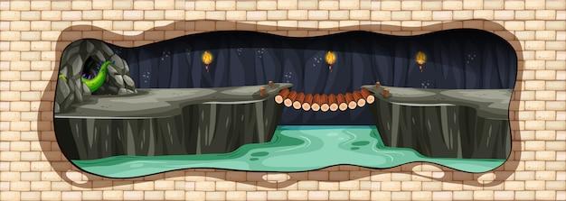 Uma caverna subterrânea do dragão do mistério Vetor Premium
