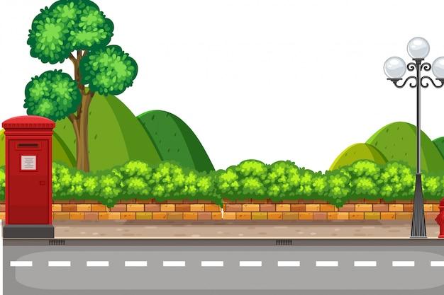 Uma cena da natureza na estrada Vetor Premium