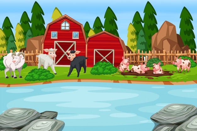 Uma cena de animais de fazenda Vetor Premium
