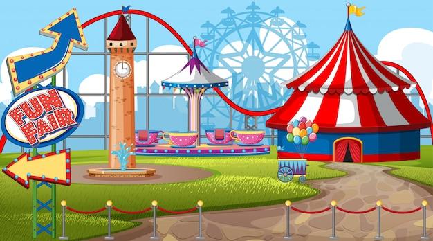 Uma cena de parque de diversões ao ar livre Vetor grátis