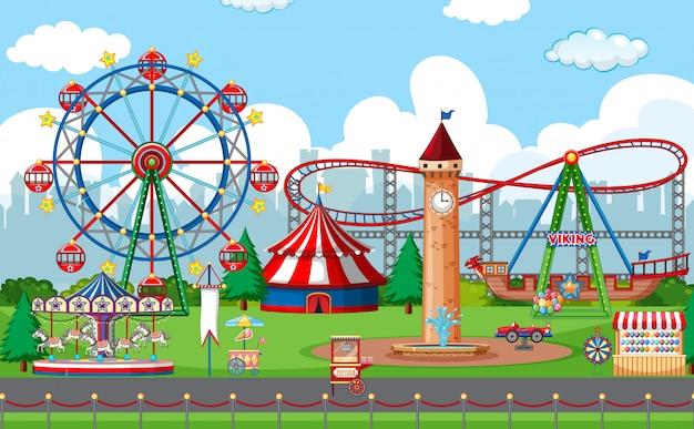 Uma cena de parque de diversões ao ar livre Vetor Premium