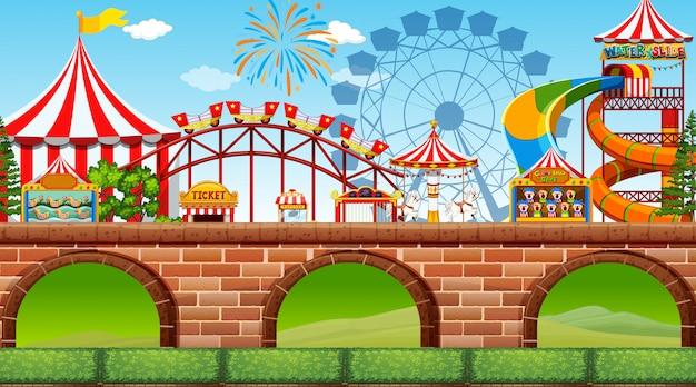 Uma cena de parque de diversões Vetor Premium
