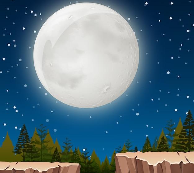 Uma cena noturna da lua Vetor grátis