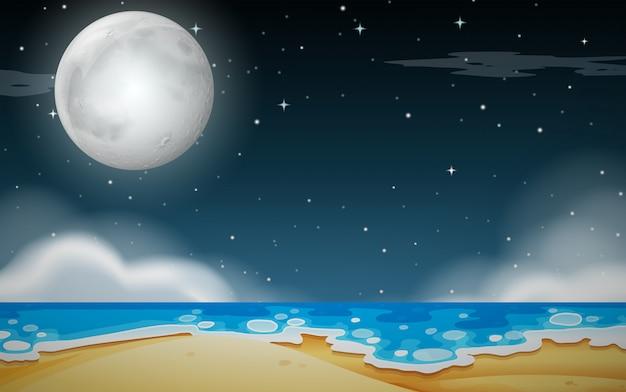 Uma cena noturna de praia Vetor grátis