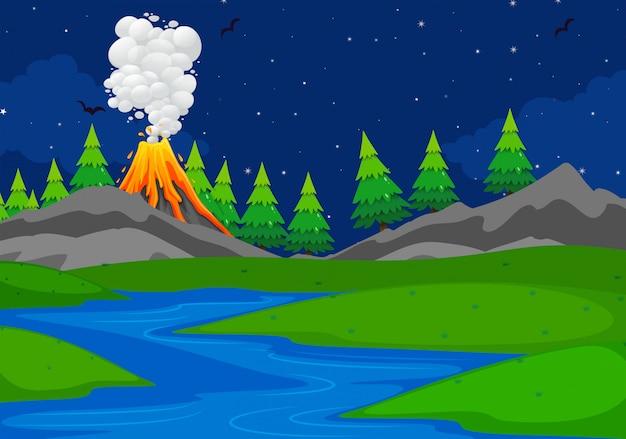 Uma cena vulcânica simples Vetor grátis