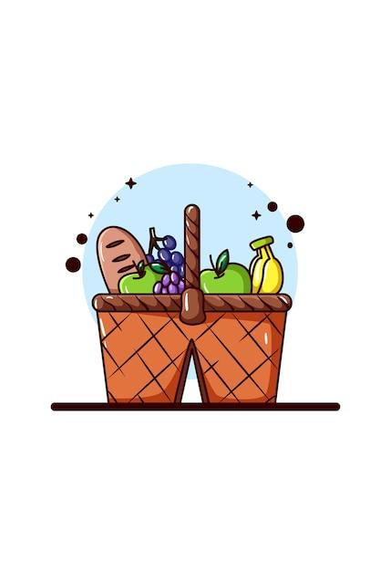 Uma cesta de frutas e pão para ilustração de piquenique Vetor Premium