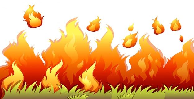 Uma chama de bushfire no fundo branco Vetor grátis