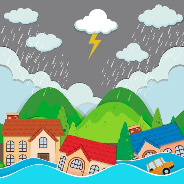 Uma cidade urbana sob inundação Vetor Premium