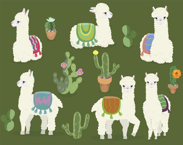 Uma coleção de belas alpacas e cactos. Vetor Premium