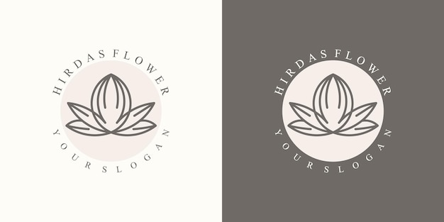 Uma coleção de logotipos florais naturais minimalistas luxuosos para marcas em um moderno Vetor Premium