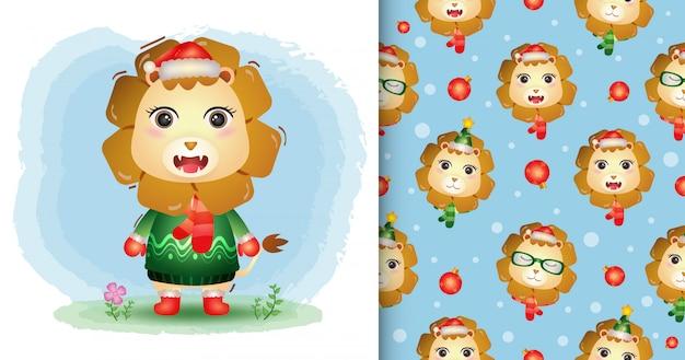 Uma coleção de personagens de natal de leão fofo com um chapéu, jaqueta e lenço. padrão sem emenda e desenhos de ilustração Vetor Premium