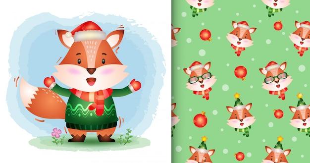 Uma coleção de personagens de natal de raposa fofa com um chapéu, jaqueta e lenço. padrão sem emenda e desenhos de ilustração Vetor Premium