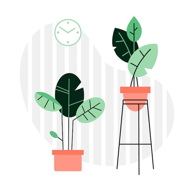 Uma coleção de plantas e flores de interior Vetor Premium