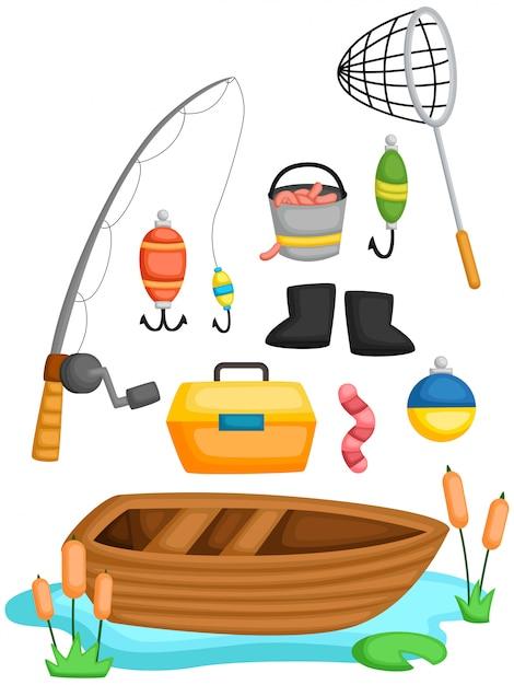 Uma coleção de vetores de ferramentas de pesca e objeto Vetor Premium