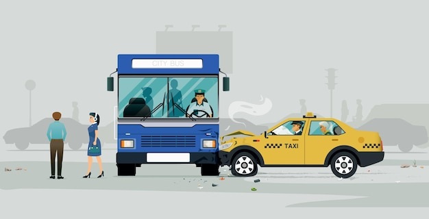 Uma colisão de ônibus com um táxi obrigou os passageiros a descer. Vetor Premium