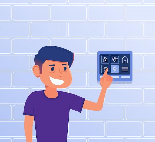 Uma criança usando o painel de controle inteligente em casa. Vetor Premium