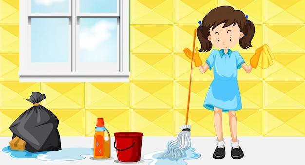 Uma empregada doméstica limpeza casa Vetor grátis