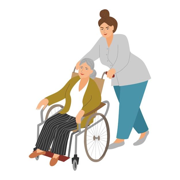 Uma enfermeira carrega uma mulher idosa em uma cadeira de rodas. Vetor Premium