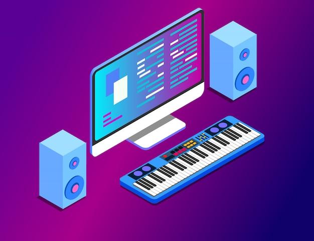 Uma estação de trabalho de composição musical com um monitor de tela grande e teclado musical. Vetor Premium