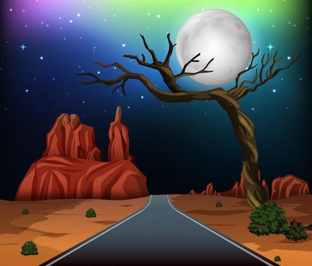 Uma estrada através do deserto Vetor Premium