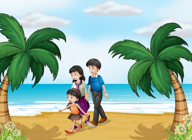 Uma família caminhando na praia Vetor grátis