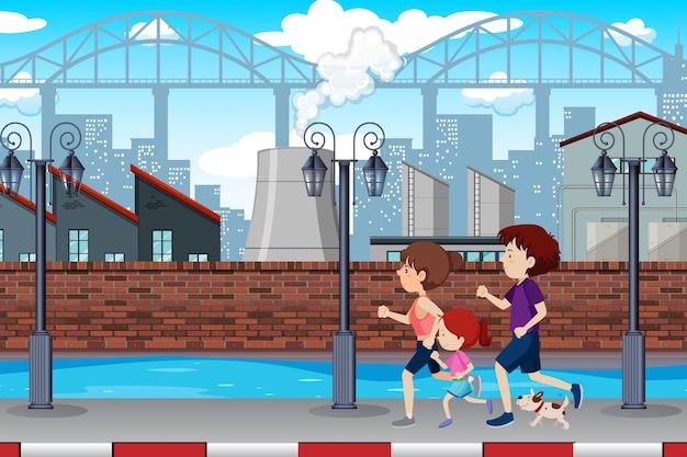 Uma família correndo na cidade Vetor grátis