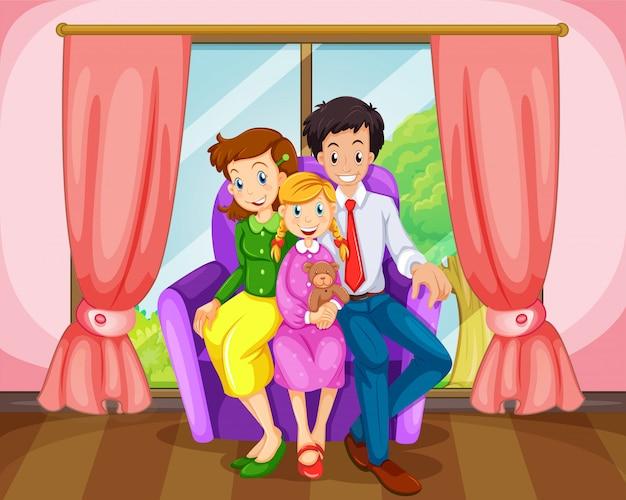Uma família na sala de estar Vetor grátis