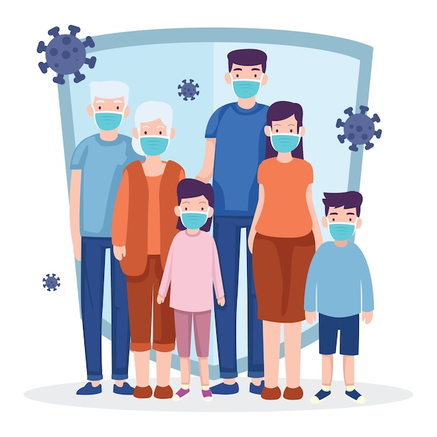 Uma família sempre usa uma máscara para evitar a pandemia do vírus Vetor Premium