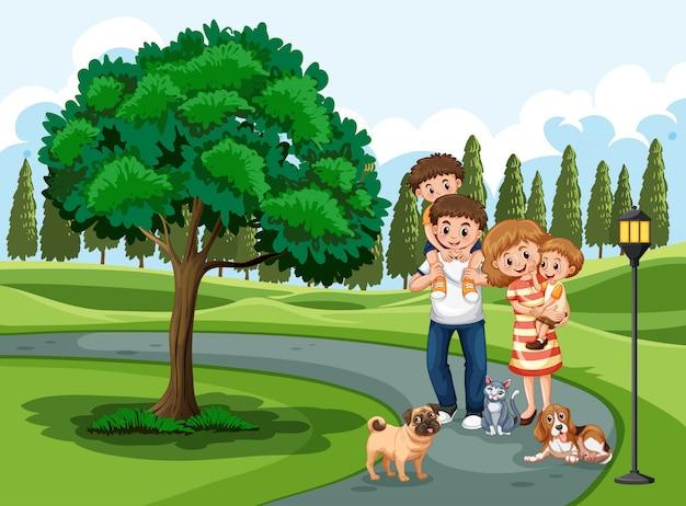 Uma família visitando o parque de férias Vetor Premium