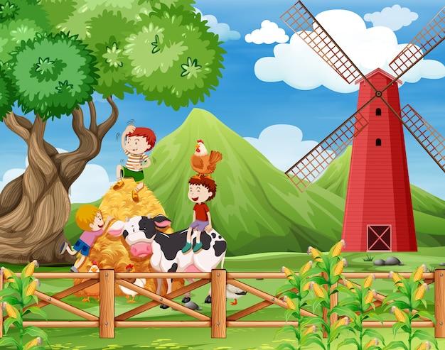 Uma fazenda com cena de vacas Vetor grátis