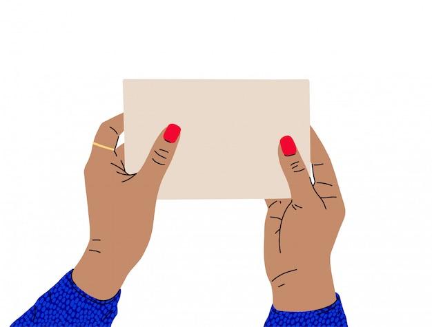 Uma fêmea mãos com uma bela manicure e blusa brilhante detém uma placa de sinal. vista lateral. ilustração na moda em estilo cartoon. design plano. Vetor Premium