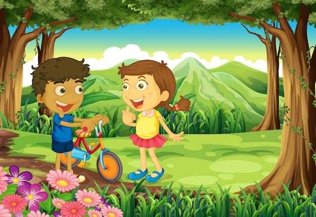 Uma floresta com crianças e uma bicicleta Vetor grátis