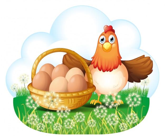Uma galinha com ovos em uma cesta Vetor grátis