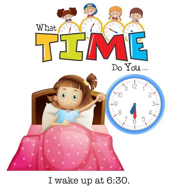 Uma garota acorda às 6:30 Vetor Premium
