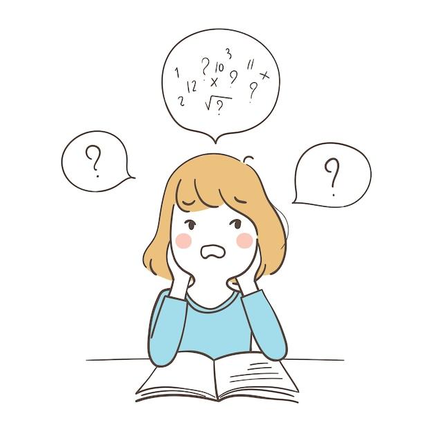 Uma garota confusa sobre matemática Vetor Premium