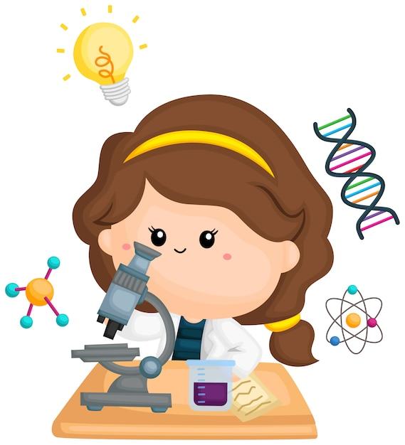 Uma garota fazendo pesquisa com seu microscópio Vetor Premium