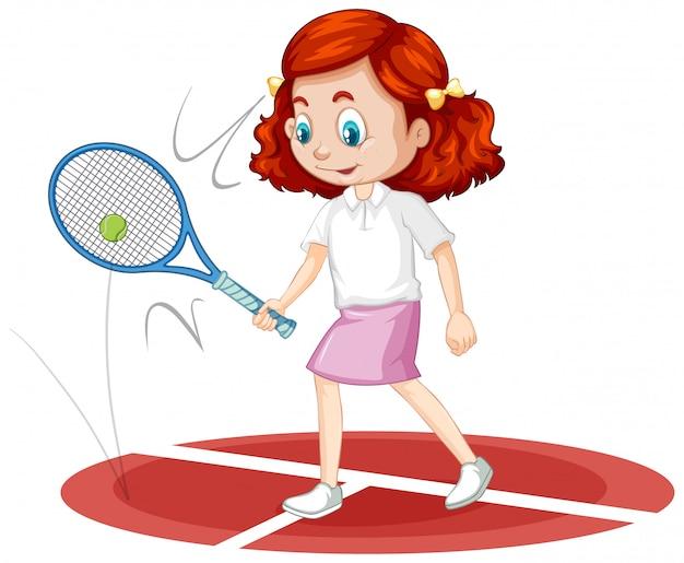 Uma garota feliz jogando tênis Vetor grátis