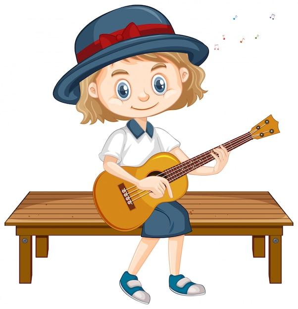 Uma garota feliz tocando violão no banco Vetor grátis
