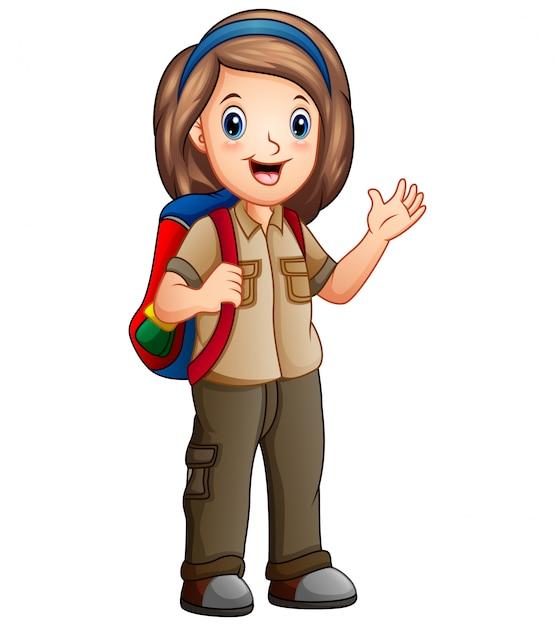 Uma garota vestida de explorador com mochila Vetor Premium