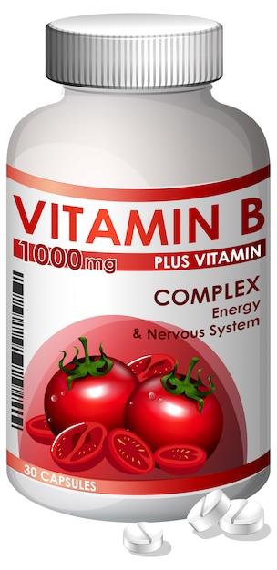 Uma garrafa de vitamina b Vetor Premium