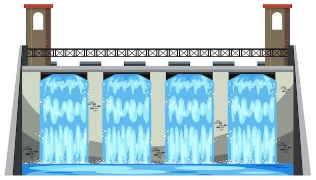 Uma grande barragem no fundo branco Vetor Premium