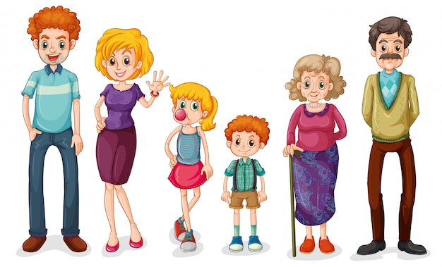 Uma grande família feliz Vetor Premium