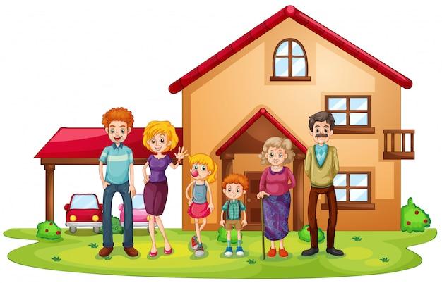 Uma grande família na frente de uma casa grande Vetor grátis